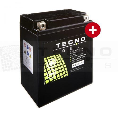 TECNO-GEL Batterie YB14L-A2 /B2 12V 14A h DIN 51411 für APRILIA, ARCTIC CAT, BENELLI, BMW C1 125/200, CAGIVA, DUCATI, GILERA, HONDA CB 750/900, CBR u. CBX 1000, CX 500/650, FT 500, GL 500/650, VF 750, KAWASAKI GPX 750, GPZ 500/750/900/1000, GT 750, KL 650, KLR 600/650, VN 750, Z 1000, Z1/Z1A/Z1B 900, Z1R 1000, ZL 900/1000, ZX 750, ZX-10 1000, ZXR 750, ZZR 1100, MALAGUTI, MOTO GUZZI Breva 750, Nevada 750, PEUGEOT, PIAGGIO, ROYAL ENFIELD, SUZUKI DR 750/800, GR 650, GS 650/750/850/1000, GSX 750,/1100, GSX-R 750/1100, GT 750, LS 650, TRIUMPH Daytona, Speed Triple 750/900, Sprint 900,Thunderbird 900, Tiger 900,Trident 750/900, Trophy 900/1200, YAMAHA FJ 1100/1200, FZ 750, FZR 750/1000, FZX 750, XJ 750/900, XS 500/650/750/850, XZ 550